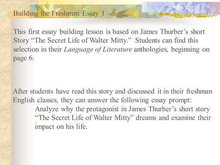 the secret life of james thurber essay summary The secret life of walter mitty summary james thurber is one of america's best known humorists, and the secret life of walter mitty is his best known story.