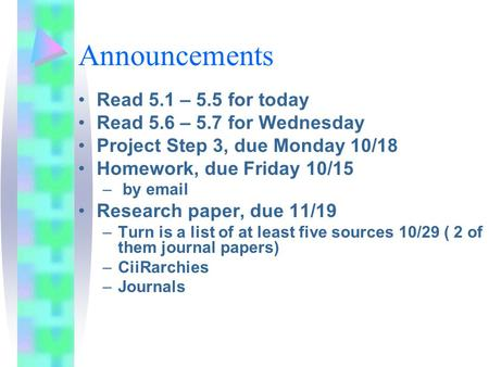 Announcements Read 5.1 – 5.5 for today Read 5.6 – 5.7 for Wednesday Project Step 3, due Monday 10/18 Homework, due Friday 10/15 – by email Research paper,