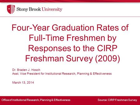 Office of Institutional Research, Planning & Effectiveness Source: CIRP Freshman Survey Four-Year Graduation Rates of Full-Time Freshmen by Responses to.