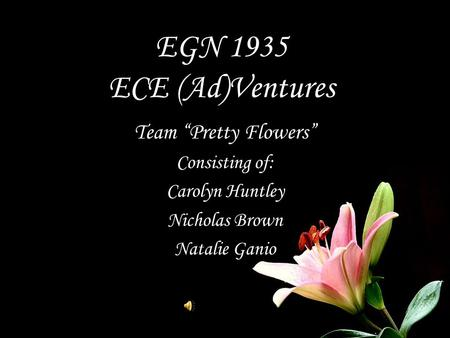 "EGN 1935 ECE (Ad)Ventures Team ""Pretty Flowers"" Consisting of: Carolyn Huntley Nicholas Brown Natalie Ganio."