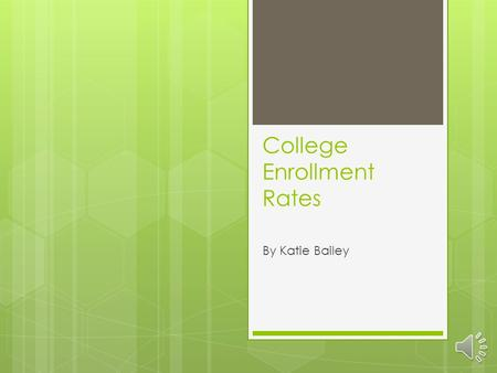 College Enrollment Rates By Katie Bailey The Problem: College Acceptance and Completion Rates of 1 year of College 2008.