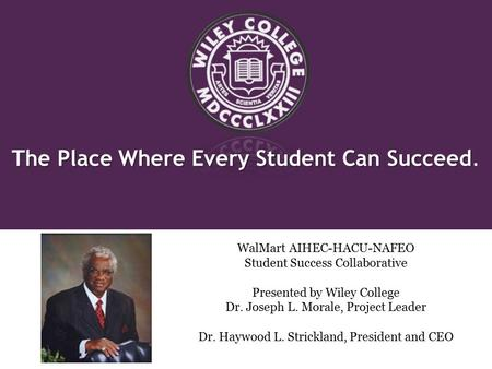 The Place Where Every Student Can Succeed The Place Where Every Student Can Succeed. WalMart AIHEC-HACU-NAFEO Student Success Collaborative Presented.