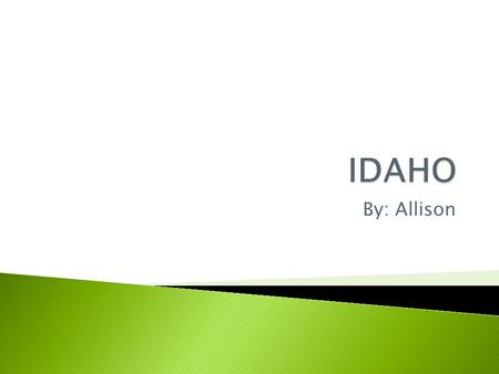 By: Allison. Idaho's motto is…It's Forever. Idaho's symbols are :  A white pine tree  Hangman horse fossil  Mountain bluebird  Appaloosa horse 