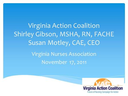 Virginia Action Coalition Shirley Gibson, MSHA, RN, FACHE Susan Motley, CAE, CEO Virginia Nurses Association November 17, 2011.