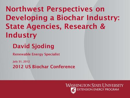 Northwest Perspectives on Developing a Biochar Industry: State Agencies, Research & Industry David Sjoding Renewable Energy Specialist July 31, 2012 2012.