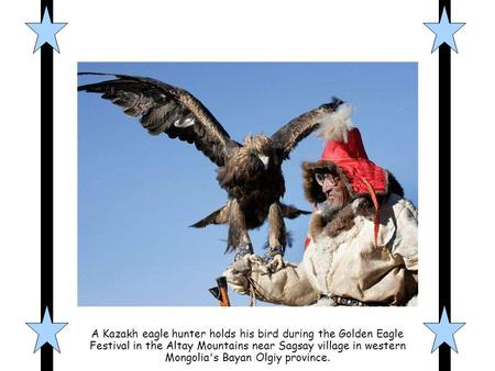 A Kazakh eagle hunter holds his bird during the Golden Eagle Festival in the Altay Mountains near Sagsay village in western Mongolia's Bayan Olgiy province.