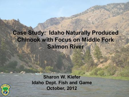 Case Study: Idaho Naturally Produced Chinook with Focus on Middle Fork Salmon River Sharon W. Kiefer Idaho Dept. Fish and Game October, 2012.