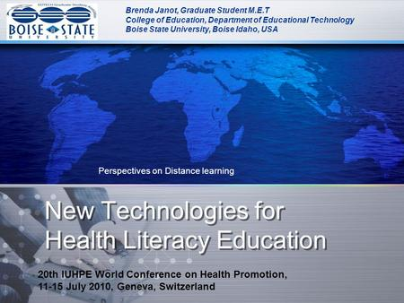 New Technologies for Health Literacy Education