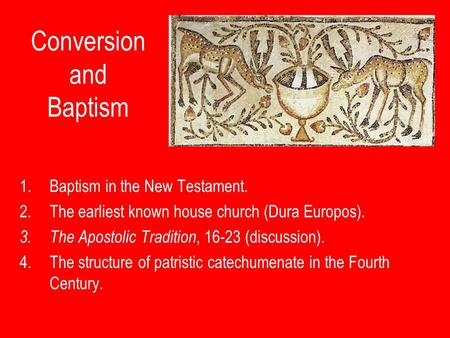 Conversion and Baptism 1.Baptism in the New Testament. 2.The earliest known house church (Dura Europos). 3.The Apostolic Tradition, 16-23 (discussion).