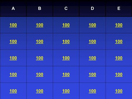 Sacraments Jeopardy A B C 4/12/2017 D E 100 100 100 100 100 100 100