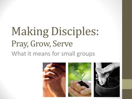 Making Disciples: Pray, Grow, Serve What it means for small groups.