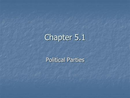 Chapter 5.1 Political Parties. Other People & Parties Do you recognize these names? Do you recognize these names? Andre Marrou Andre Marrou Dr. Lenora.