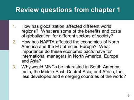 Review questions from chapter 1