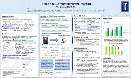 Textual Relations Task Definition Annotate input text with disambiguated Wikipedia titles: Motivation Current state-of-the-art Wikifiers, using purely.