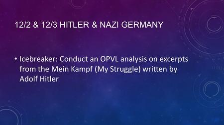 12/2 & 12/3 HITLER & NAZI GERMANY Icebreaker: Conduct an OPVL analysis on excerpts from the Mein Kampf (My Struggle) written by Adolf Hitler.