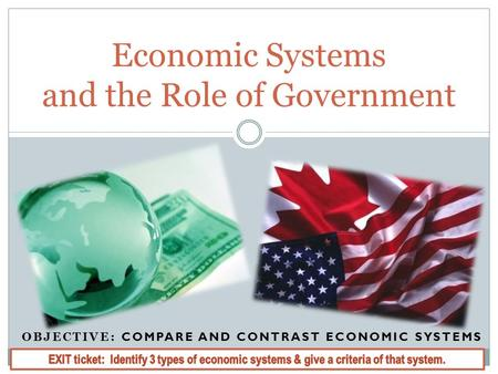 OBJECTIVE: COMPARE AND CONTRAST ECONOMIC SYSTEMS Economic Systems and the Role of Government.