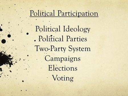 Political Ideology Political Parties Two-Party System Campaigns Elections Voting Political Participation.