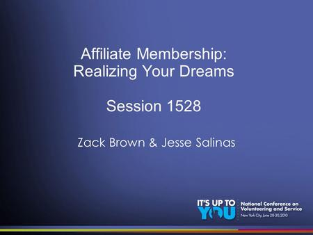 Affiliate Membership: Realizing Your Dreams Session 1528 Zack Brown & Jesse Salinas.