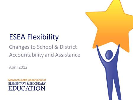 ESEA Flexibility C hanges to School & District Accountability and Assistance April 2012.
