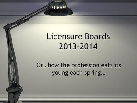 Or…how the profession eats its young each spring…
