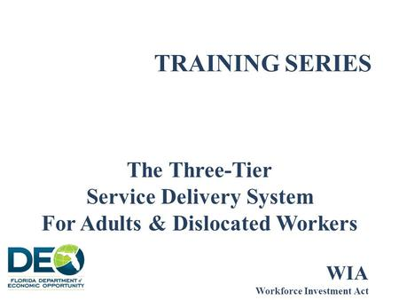 TRAINING SERIES The Three-Tier Service Delivery System For Adults & Dislocated Workers WIA Workforce Investment Act.