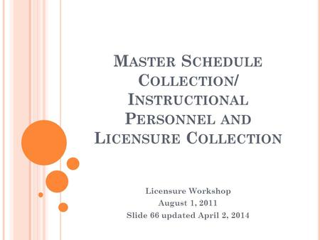 M ASTER S CHEDULE C OLLECTION / I NSTRUCTIONAL P ERSONNEL AND L ICENSURE C OLLECTION Licensure Workshop August 1, 2011 Slide 66 updated April 2, 2014.