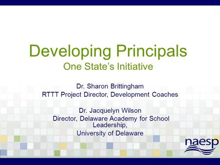 Developing Principals One State's Initiative Dr. Sharon Brittingham RTTT Project Director, Development Coaches Dr. Jacquelyn Wilson Director, Delaware.