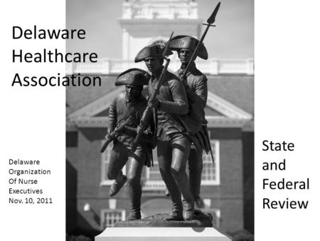 State and Federal Review Delaware Healthcare Association Delaware Organization Of Nurse Executives Nov. 10, 2011.
