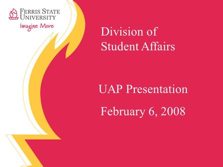 Division of Student Affairs UAP Presentation February 6, 2008.
