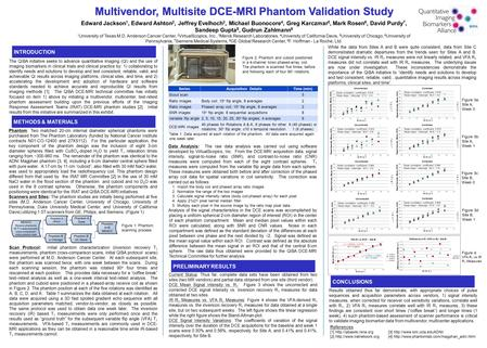 Multivendor, Multisite DCE-MRI Phantom Validation Study Edward Jackson 1, Edward Ashton 2, Jeffrey Evelhoch 3, Michael Buonocore 4, Greg Karczmar 5, Mark.