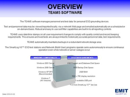 OVERVIEW TEAM5 SOFTWARE The TEAM5 software manages personnel and test data for personal ESD grounding devices. Test and personnel data may be viewed/reported.