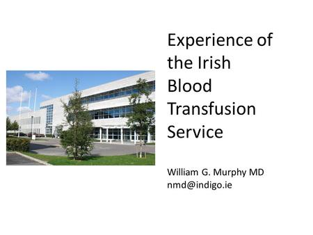 Experience of the Irish Blood Transfusion Service William G. Murphy MD