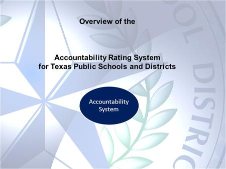 1 Accountability System Overview of the Accountability Rating System for Texas Public Schools and Districts.