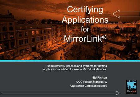 Certifying Applications for MirrorLink®