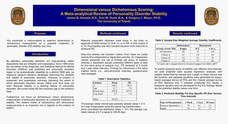 Purpose Dimensional versus Dichotomous Scoring: A Meta-analytical Review of Personality Disorder Stability James B. Hoelzle, B.S., Erin M. Guell, B.A.,