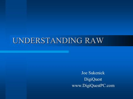 UNDERSTANDING RAW Joe Sukenick DigiQuest www.DigiQuestPC.com.