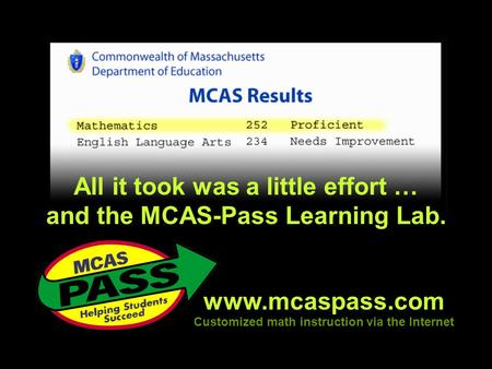 Www.mcaspass.com Customized math instruction via the Internet All it took was a little effort … and the MCAS-Pass Learning Lab.