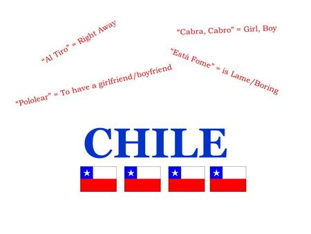 "CHILE ""Al Tiro"" = Right Away ""Cabra, Cabro"" = Girl, Boy ""Está Fome"" = is Lame/Boring ""Pololear"" = To have a girlfriend/boyfriend."
