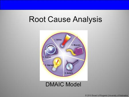 Root Cause Analysis DMAIC Model © 2010 Board of Regents University of Nebraska.