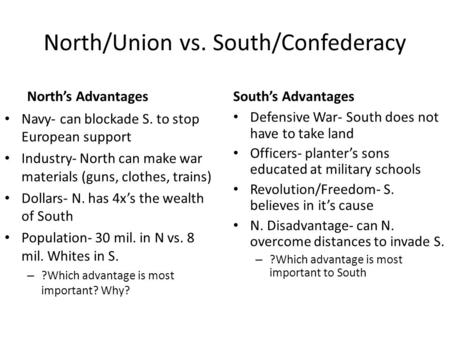 North/Union vs. South/Confederacy North's Advantages Navy- can blockade S. to stop European support Industry- North can make war materials (guns, clothes,