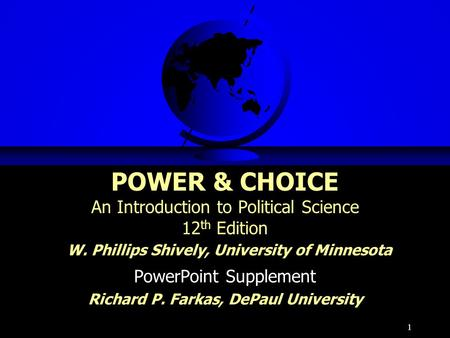 PowerPoint Supplement Richard P. Farkas, DePaul University