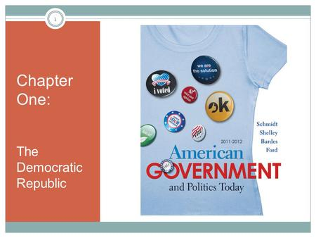 Chapter One: The Democratic Republic 1. Learning Objectives Understand why governments exist. Be familiar with and use appropriately the terms: politics,