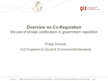 Page 1 Overview on Co-Regulation the use of private certification in government regulation BMZ Conference Forests for Future Generations – Public and Private.