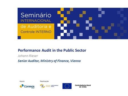 Performance Audit in the Public Sector Johann Rieser Senior Auditor, Ministry of Finance, Vienna.