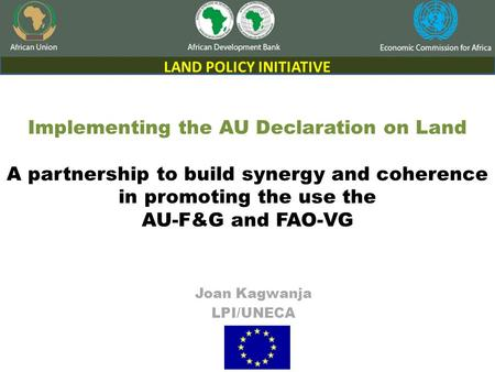 Implementing the AU Declaration on Land A partnership to build synergy and coherence in promoting the use the AU-F&G and FAO-VG Joan Kagwanja LPI/UNECA.