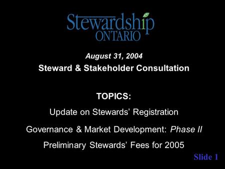 Slide 1 August 31, 2004 Steward & Stakeholder Consultation TOPICS: Update on Stewards' Registration Governance & Market Development: Phase II Preliminary.