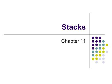 Stacks Chapter 11. 2 Chapter Contents Specifications of the ADT Stack Using a Stack to Process Algebraic Expressions Checking for Balanced Parentheses,