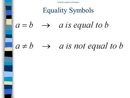 Symbols and Sets of Numbers Equality Symbols Symbols and Sets of Numbers Inequality Symbols.