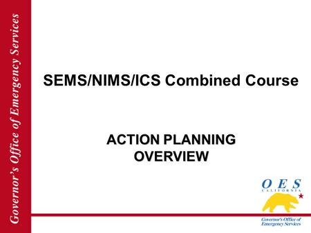 SEMS/NIMS/ICS Combined Course ACTION PLANNING OVERVIEW.