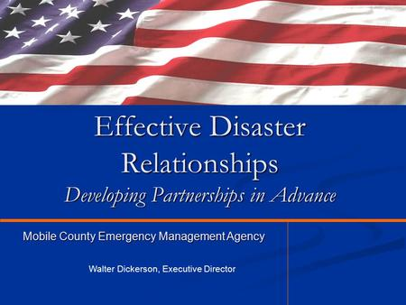 Effective Disaster Relationships Developing Partnerships in Advance